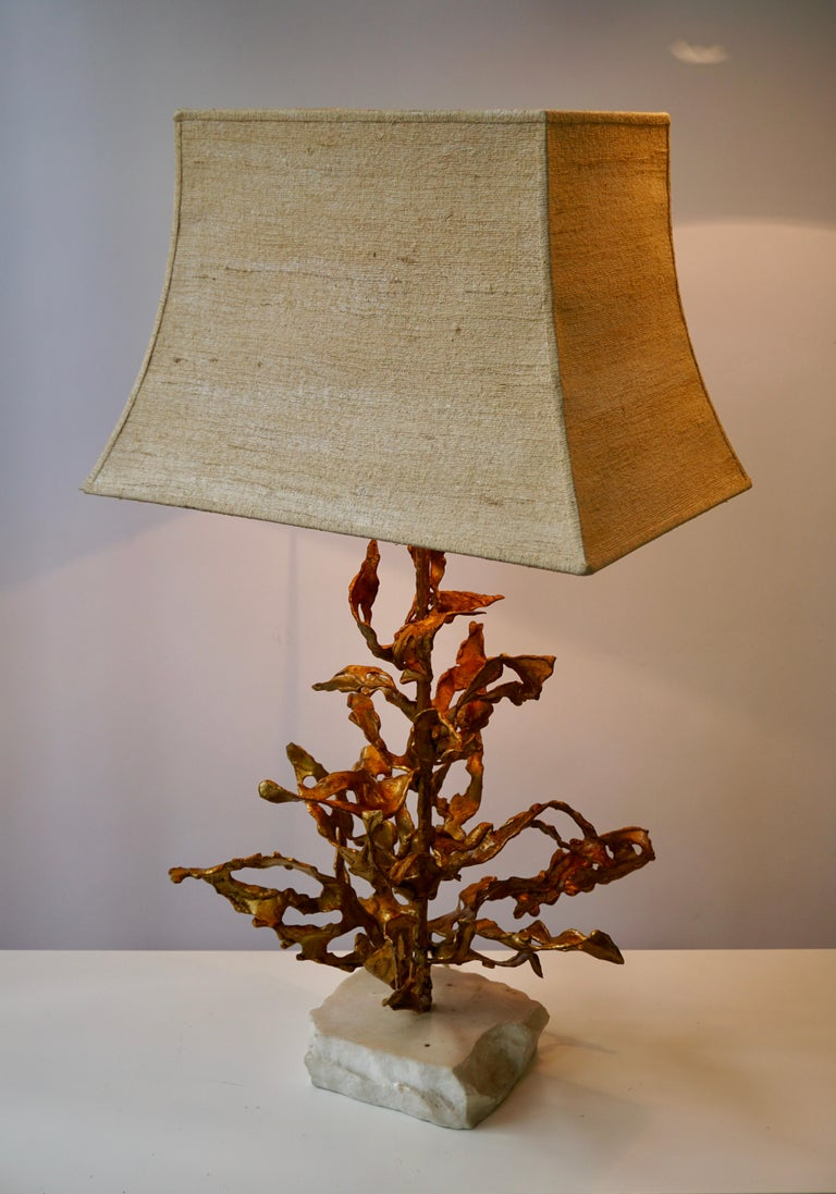 Brutalist Table Lamp in Brass Signed Paul Moerenhout, circa 1970 For Sale 8