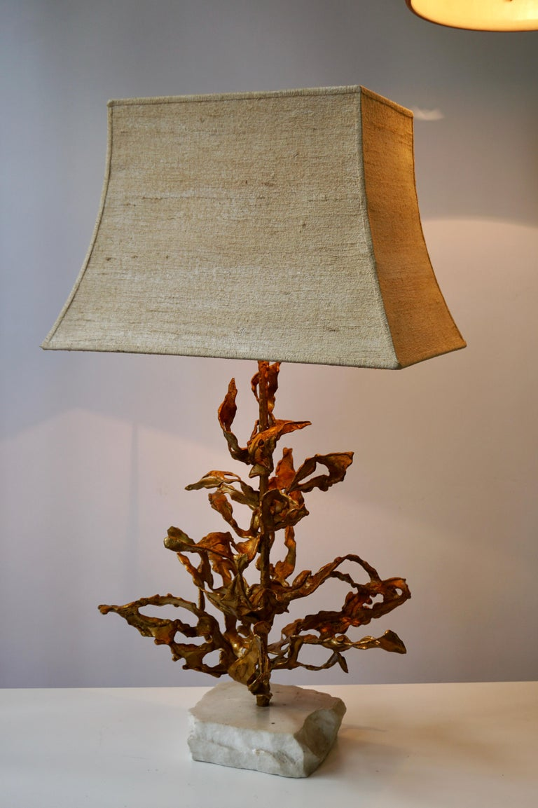 Brutalist Table Lamp in Brass Signed Paul Moerenhout, circa 1970 For Sale 9