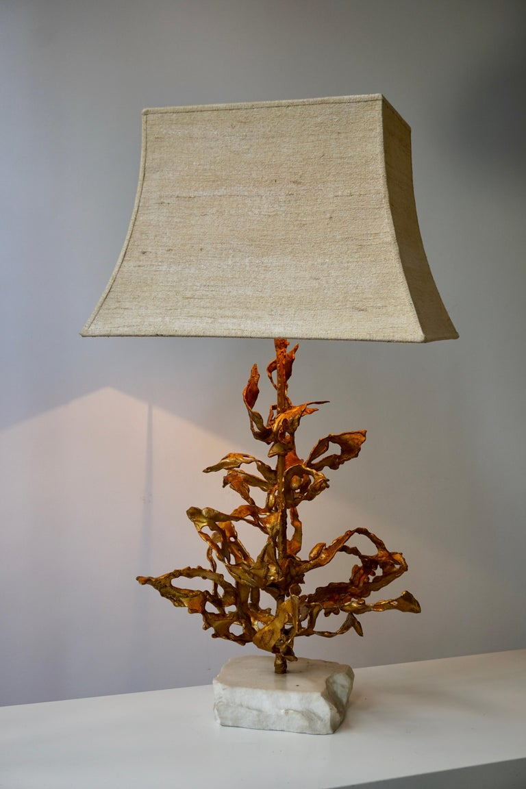 Brutalist Table Lamp in Brass Signed Paul Moerenhout, circa 1970 In Good Condition For Sale In Antwerp, BE