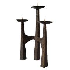 Brutalist Three-Arm Bronze 1960s Candelabra