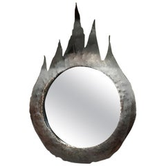 Brutalist Torch Cut Black Patinated Steel Mirror, France, 1970s