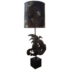 Brutalist Torch Cut Metal Lamp Attributed to Curtis Jere