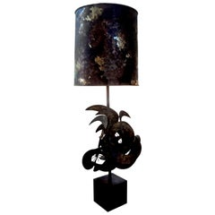 Brutalist Torch Cut Metal Lamp by Bijan For Laurel