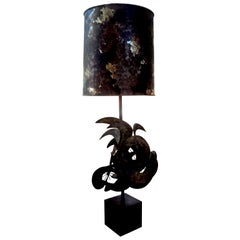 Brutalist Torch Cut Metal Lamp by Bijan For Laurel