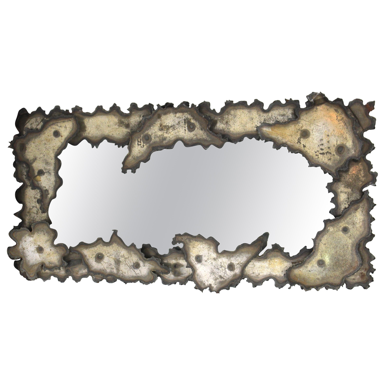 Brutalist Torch-Cut Metal Wall Mirror