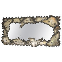 Brutalist Torch-Cut Metal Wall Mirror