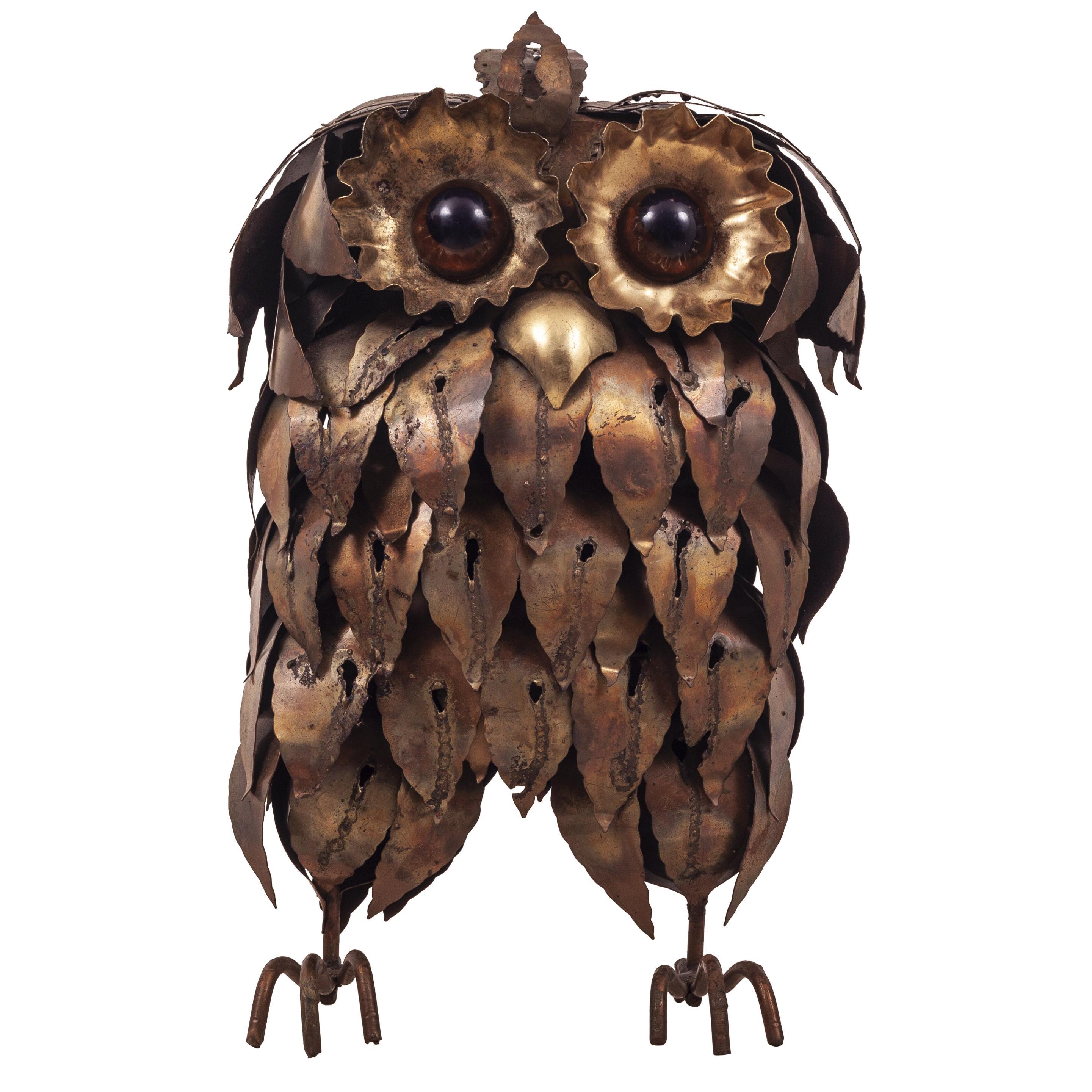 Brutalist Torch Cut Owl Sculpture