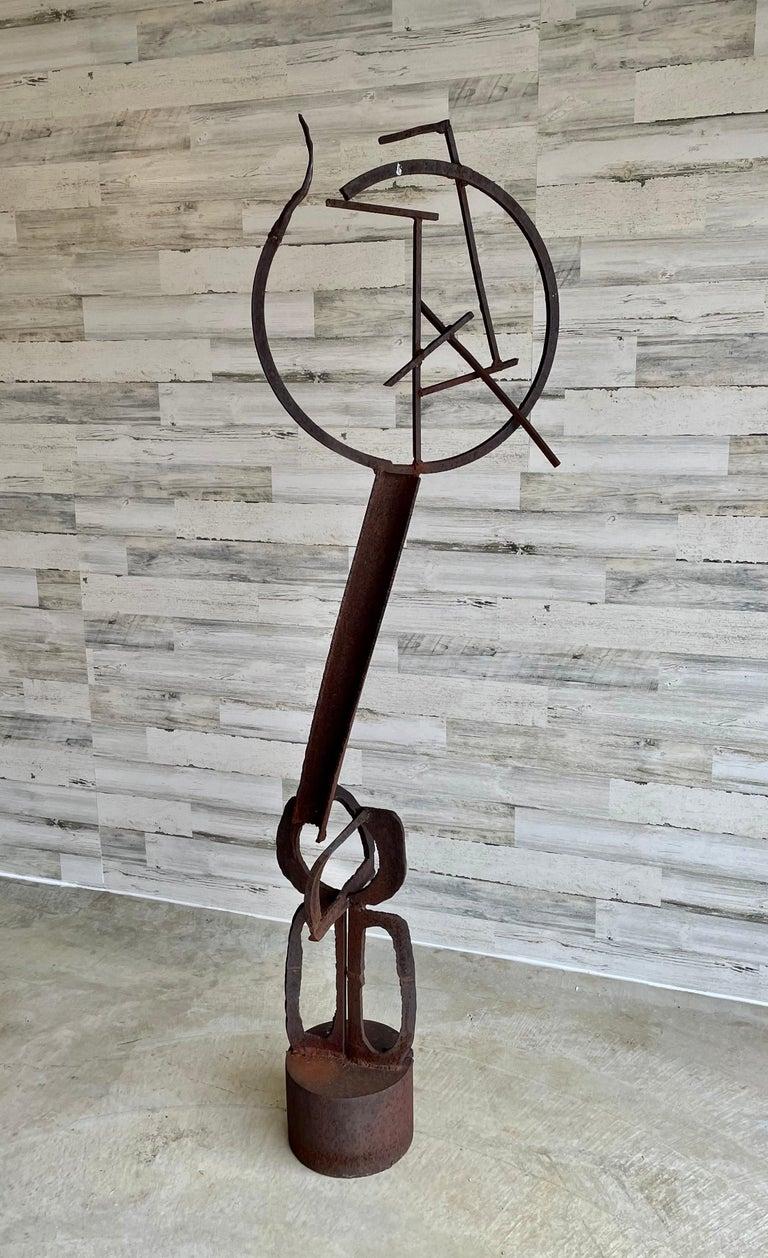 Brutalist abstract torch cut steel garden sculpture. Heavy natural rust patina 2-piece standing sculpture.