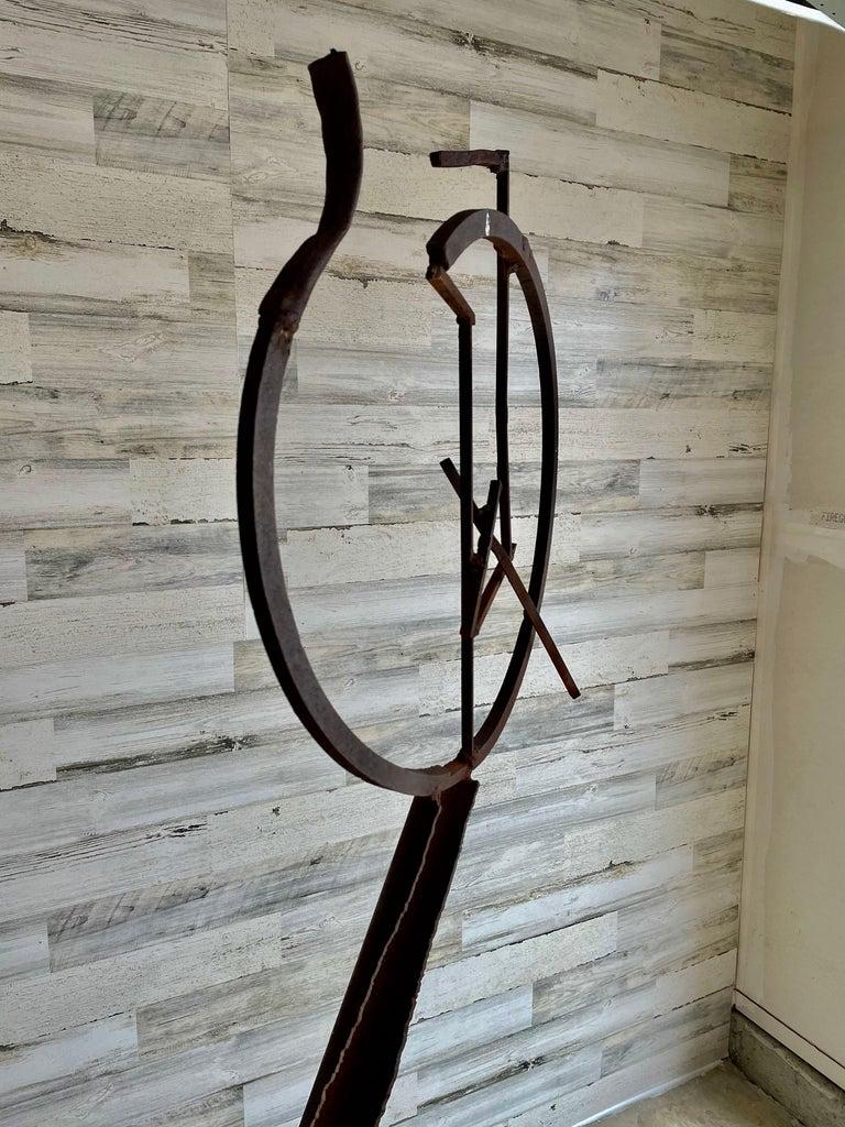 Brutalist Torch Cut Steel Sculpture In Good Condition For Sale In Denton, TX