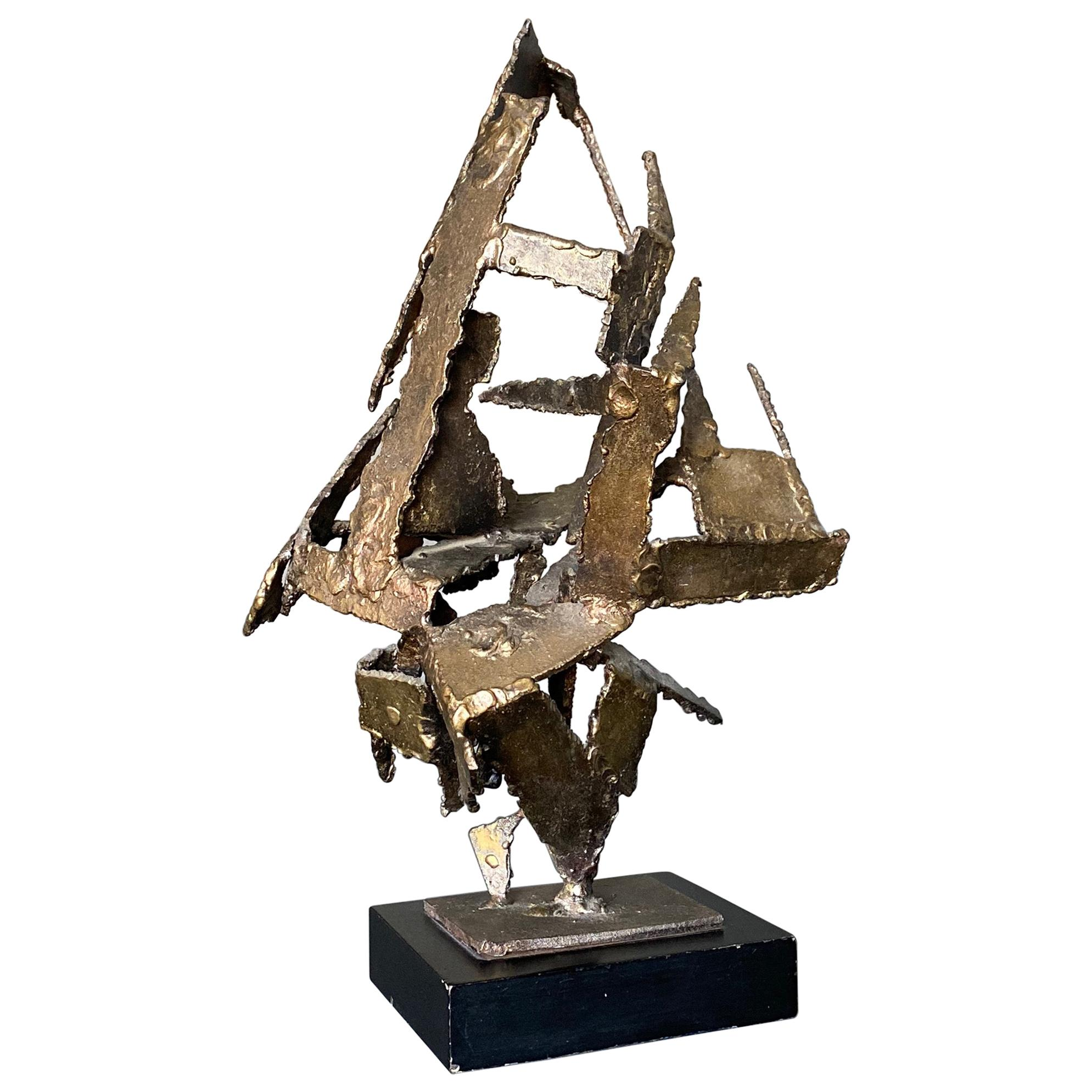 Brutalist Torch Cut Steel Sculpture