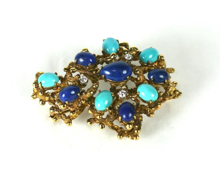 Modernist Brutalist Turquoise, Lapis and Diamond Brooch For Sale