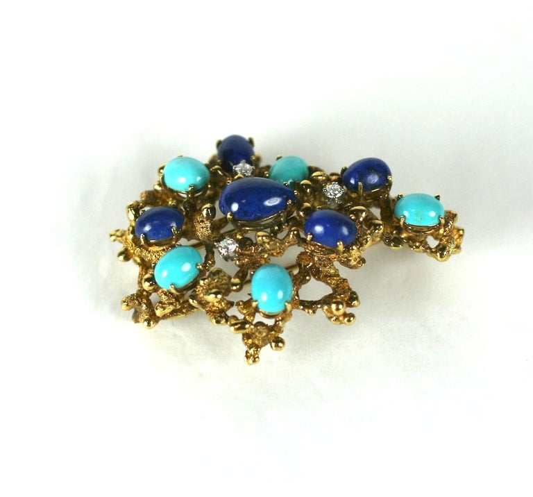 Brutalist Turquoise, Lapis and Diamond Brooch In Excellent Condition For Sale In Riverdale, NY