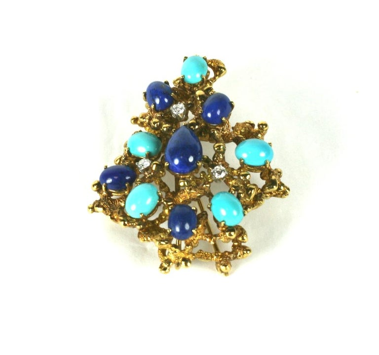 Women's Brutalist Turquoise, Lapis and Diamond Brooch For Sale