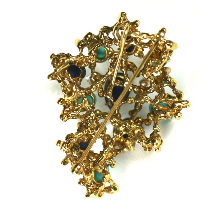 Brutalist Turquoise, Lapis and Diamond Brooch For Sale 1