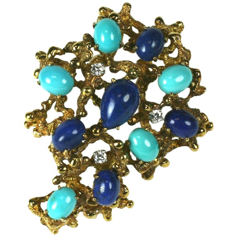 Brutalist Turquoise, Lapis and Diamond Brooch For Sale