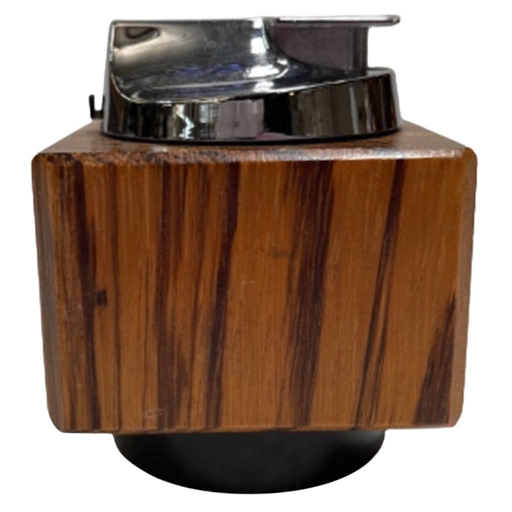 "Brutalist ""Varaflame Ambassador"" Zebra Wood Table Lighter Ronson"