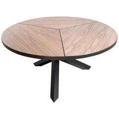 Brutalist vintage design by Martin Visser Tripod Dining table in walnut and oak
