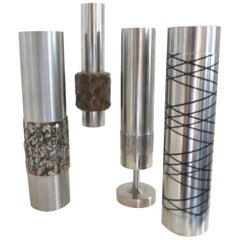 Brutalist W German Precision Engineered Steel Vases/Vessels, Mid-Century Modern