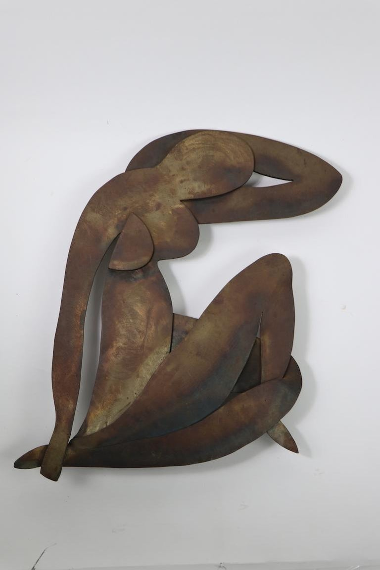 American Brutalist Wall Hanging Sculpture after Matisse For Sale