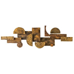Brutalist Wall Sculpture in Mixed Metals Brass Bronze Copper 1960 Stuart Mathews