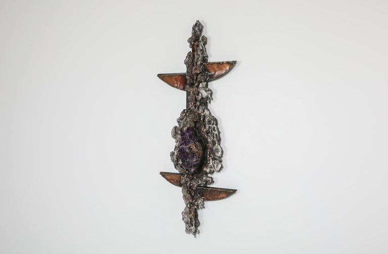 Belgian Brutalist Wall Sculpture with Amethyst Inlay by Marc D'haenens, 1970s For Sale