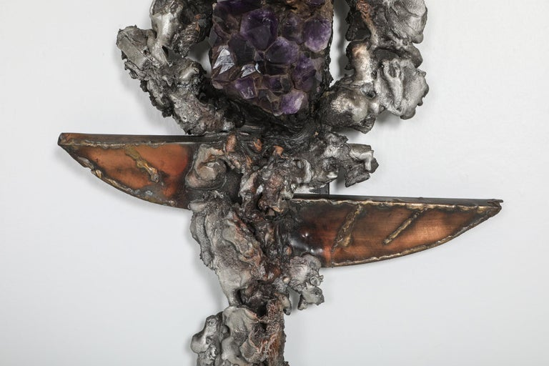 Late 20th Century Brutalist Wall Sculpture with Amethyst Inlay by Marc D'haenens, 1970s For Sale