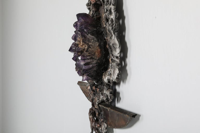 Metal Brutalist Wall Sculpture with Amethyst Inlay by Marc D'haenens, 1970s For Sale