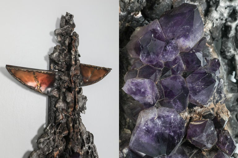 Brutalist Wall Sculpture with Amethyst Inlay by Marc D'haenens, 1970s For Sale 1