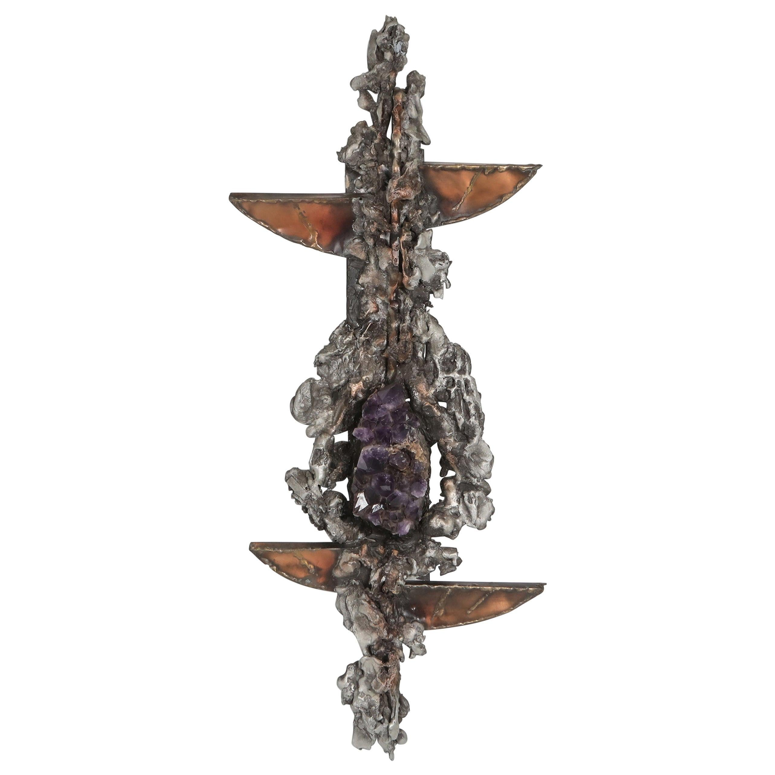 Brutalist Wall Sculpture with Amethyst Inlay by Marc D'haenens, 1970s