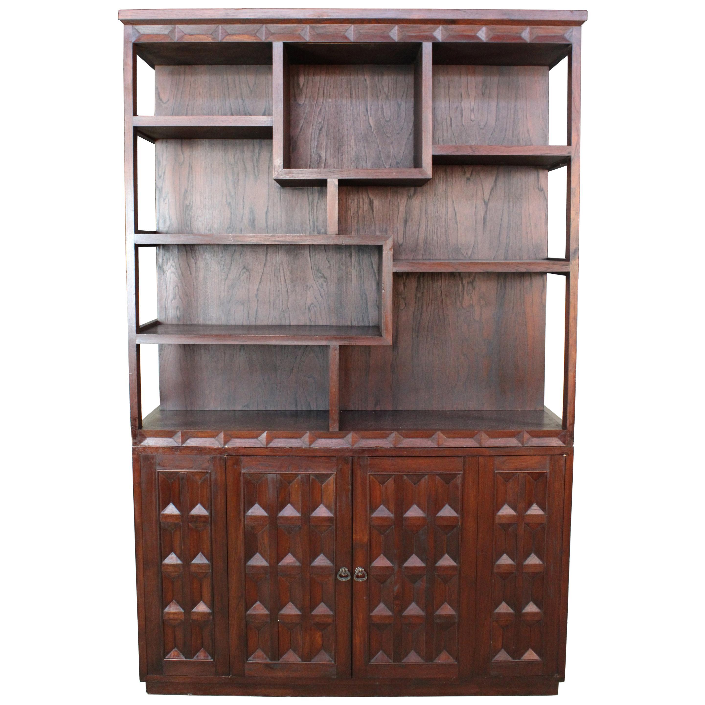 Brutalist Walnut Bookcase Room Divider Library Étagère Cabinet Sculptural MCM