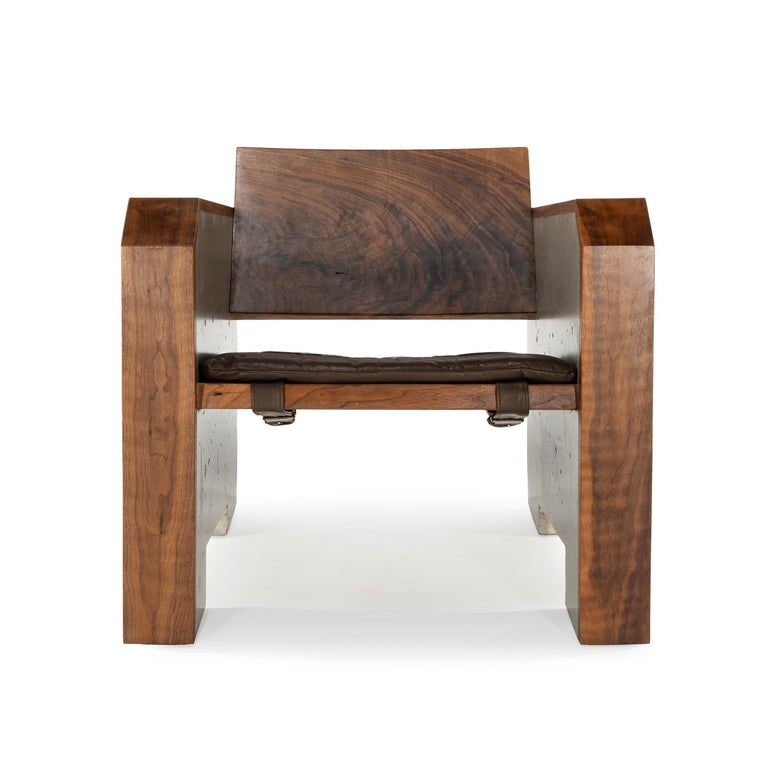 Brilliant Brutalist Walnut Concrete Lounge Chair With Sheepskin Throw Leather Cushion Alphanode Cool Chair Designs And Ideas Alphanodeonline