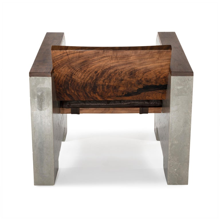 Sensational Brutalist Walnut Concrete Lounge Chair With Sheepskin Throw Leather Cushion Alphanode Cool Chair Designs And Ideas Alphanodeonline
