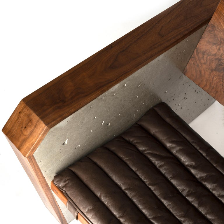 Stupendous Brutalist Walnut Concrete Lounge Chair With Sheepskin Throw Leather Cushion Alphanode Cool Chair Designs And Ideas Alphanodeonline