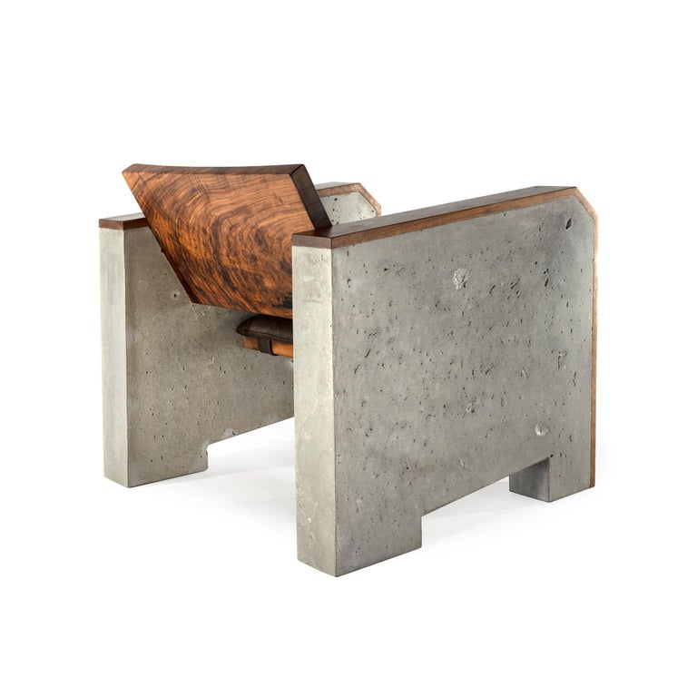 Awesome Brutalist Walnut Concrete Lounge Chair With Sheepskin Throw Leather Cushion Alphanode Cool Chair Designs And Ideas Alphanodeonline