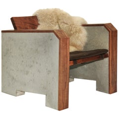 Brutalist Walnut & Concrete Lounge Chair with Sheepskin Throw & Leather Cushion