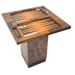Brutalist Welded Copper Backgammon Table