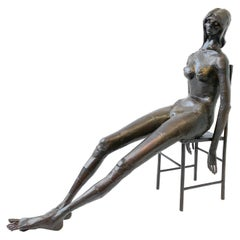 Brutalist Welded Steel Nude Female on Chair Sculpture by Gene Logan