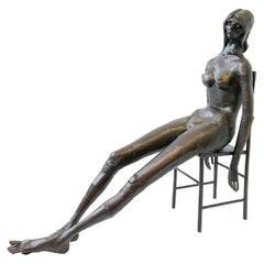 Brutalist Welded Steel Nude Female on Chair Sculpture by Gene Logan