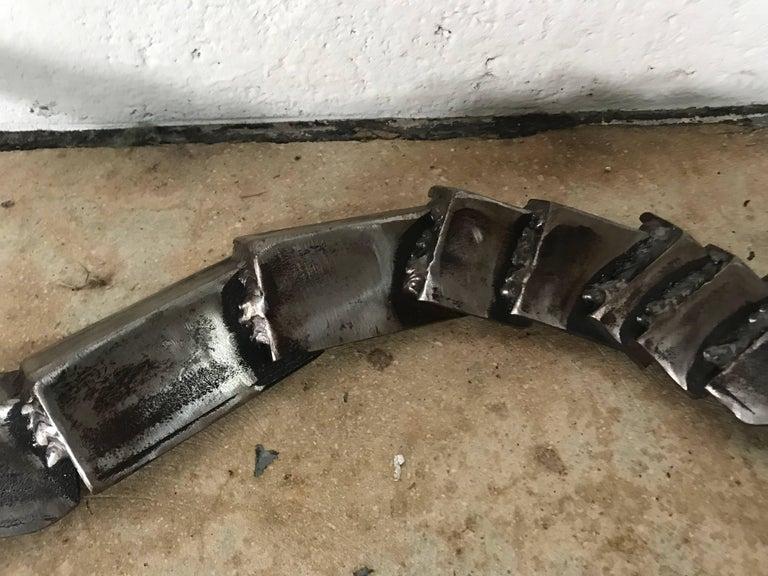 20th Century Brutalist Welded Steel Rattlesnake Sculpture For Sale