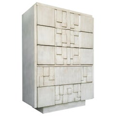 Brutalist White Finish Tall Cabinet or Chest by Lane
