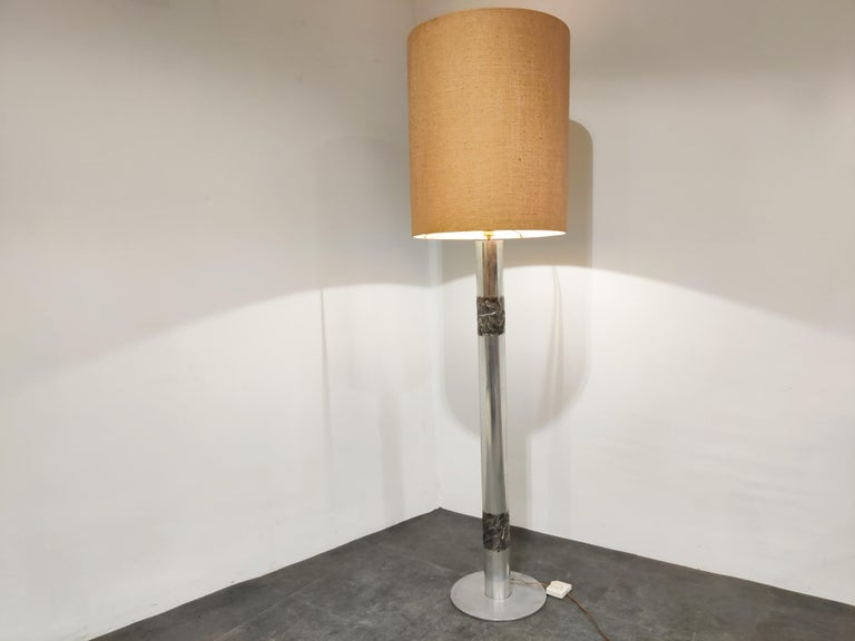 Very rare Brutalist floor lamp made from cast aluminum.  This lamp was made by Belgian goldsmith Willy Luyckx for a Belgian company called Aluclair.  Willy Luyckx was a goldsmith who worked for goldsmith Camille Colruyt before starting his own