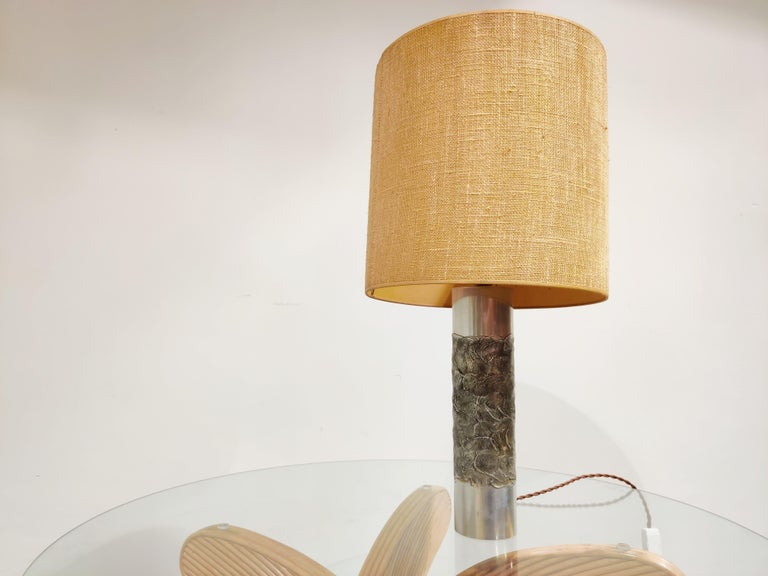 Belgian Brutalist Willy Luyckx Table Lamp, 1970s For Sale