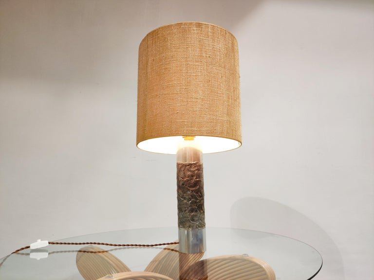 Aluminum Brutalist Willy Luyckx Table Lamp, 1970s For Sale