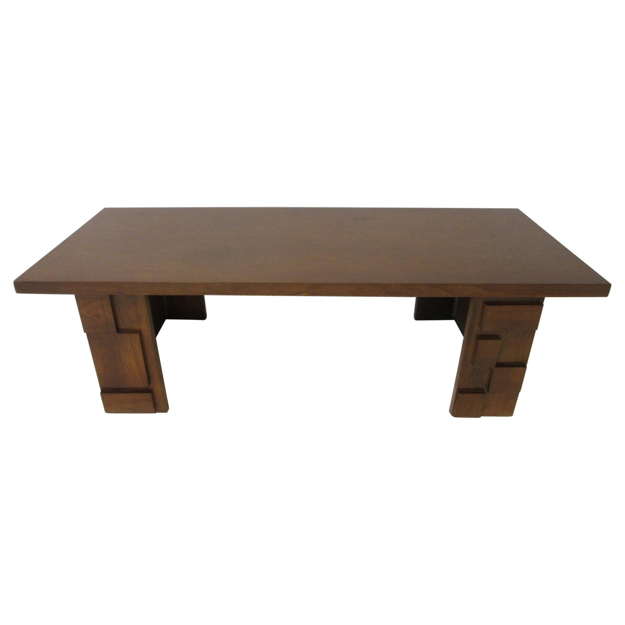 Brutalist Wood Coffee Table by Lane Altavista