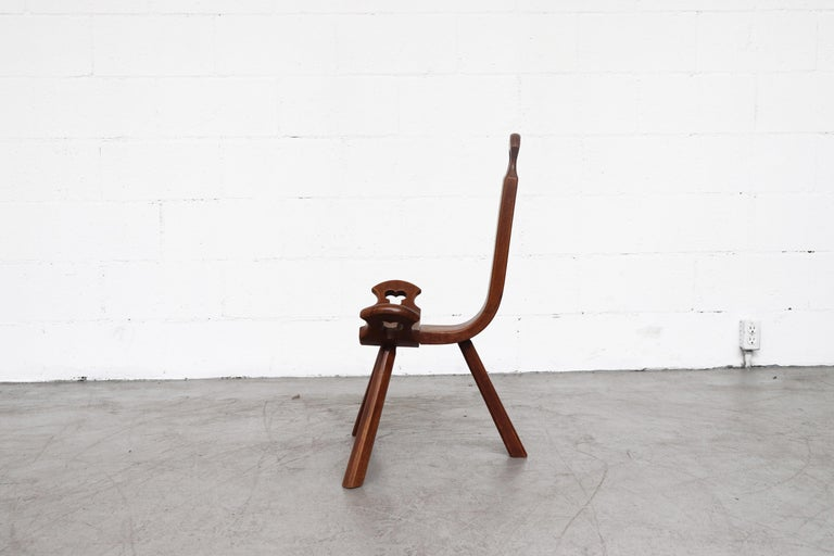 Mid-Century Modern Brutalist Wood Lounge Chair