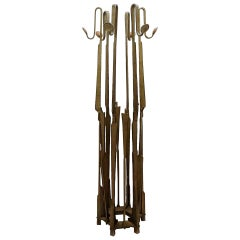 Brutalist Wrought Iron Coat Rack