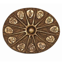 Brutalist Wall Sculpture by J. Segura - Gold Sunburst Zodiac