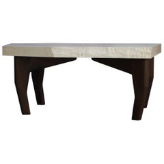 Brute, Live Edge Coffee Table in Bleached Ash, Walnut, and Polished Aluminum