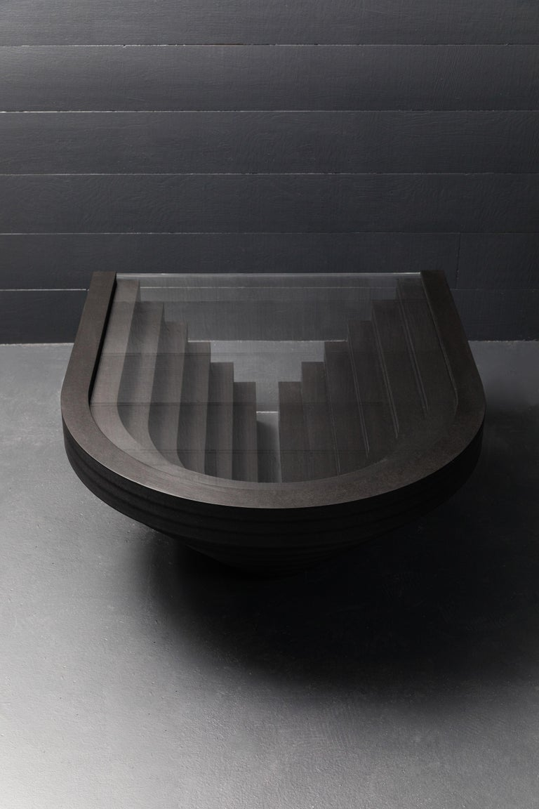 The Brutiful U&I table was influenced, in part, by a visit Suna and I made to the architect Carlo Scarpa's Brion Cemetery. Scarpa has all these moments of detailing in his concrete and stone, beautiful repetitive symmetries and forms which mirror