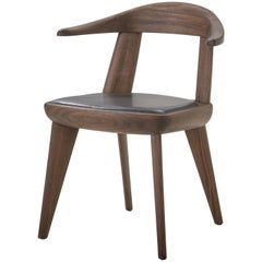 Brutus Armchair in Walnut Black Oil with Leather Seat Designed by Craig Bassam